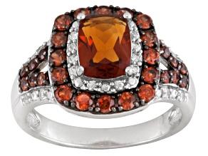 Orange Madeira Citrine Sterling Silver Ring 2.90ctw.
