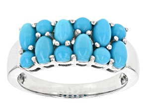Blue Sleeping Beauty Turquoise Sterling Silver Band Ring