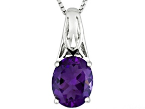 Purple Amethyst Sterling Silver Pendant With Chain 1.85ct