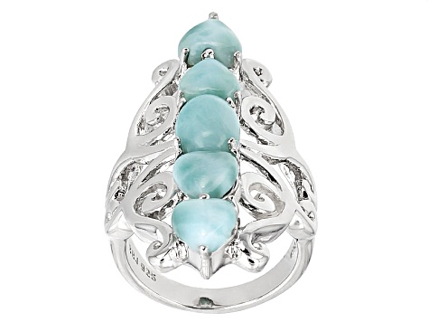Blue Larimar Sterling Silver 5-Stone Ring
