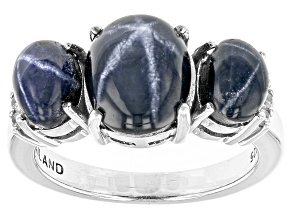 Blue Star Sapphire And White Zircon Sterling Silver Ring 5.79ctw
