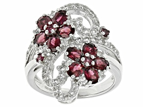 Purple Rhodolite Sterling Silver Ring 3.44ctw