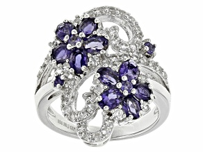 blue Iolite Sterling Silver Ring 2.70ctw
