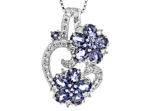 Purple Iolite Sterling Silver Floral Pendant With Chain 2.34ctw