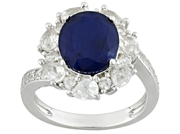 Picture of Blue Sapphire Sterling Silver Ring 4.93ctw