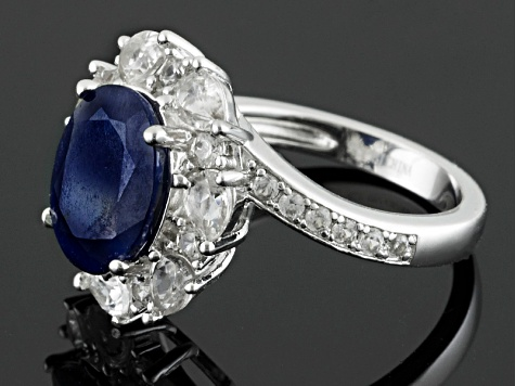 Blue Sapphire Sterling Silver Ring 4.93ctw