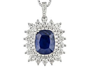 Blue Sapphire Sterling Silver Pendant With Chain 4.87ctw