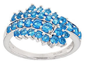 Blue Neon Apatite Sterling Silver Ring 1.68ctw