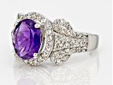 Purple Amethyst Sterling Silver Ring 4.06ctw