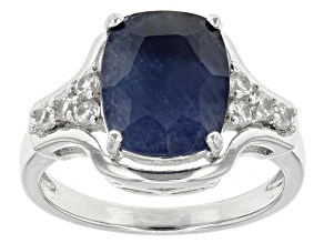 Blue Sapphire Sterling Silver Ring 4.48ctw