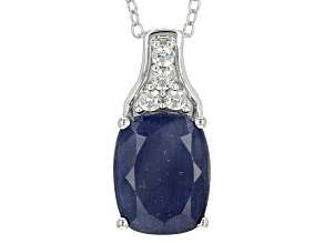 Blue Sapphire Sterling Silver Pendant With Chain 4.48ctw