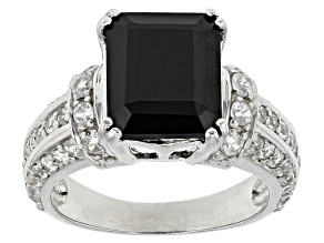 Black Spinel Sterling Silver Ring 5.20ctw
