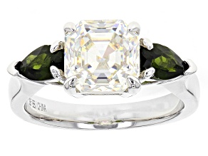 White Fabulite Strontium Titanate And Russian Chrome Diopside Sterling Silver Ring 4.17ctw