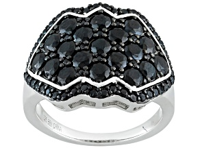 Black Spinel Sterling Silver Ring 3.27ctw