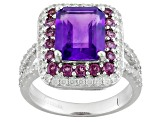 Purple African Amethyst Sterling Silver Ring 4.84ctw