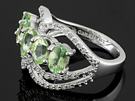 Green Brazilian Amblygonite Sterling Silver Ring 2.02ctw