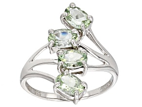 Green Amblygonite Sterling Silver Ring 1.36ctw