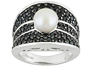 White Cultured Freshwater Pearl Sterling Silver Ring 2.47ctw