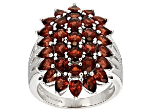 Red Garnet Sterling Silver Ring 6.08ctw