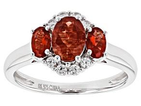 Red Labradorite Sterling Silver Ring 1.47ctw
