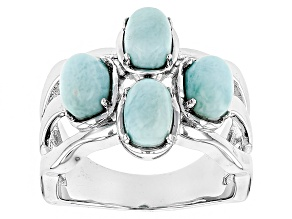 Blue Larimar Sterling Silver 4-Stone Ring