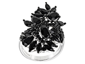 Black Spinel Sterling Silver Ring 5.37ctw