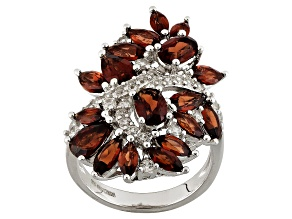 Red Garnet Sterling Silver Cluster Ring 6.49ctw