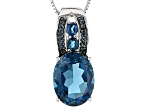 London Blue Topaz Sterling Silver Pendant With Chain 10.64ctw