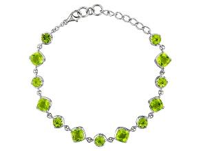 Green Peridot Sterling Silver Bracelet 10.62ctw