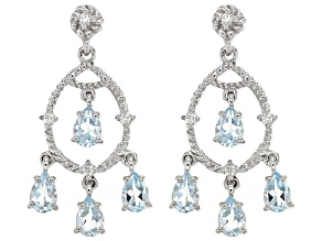 Sky Blue Topaz Sterling Silver Earrings 3.83ctw
