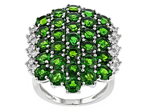 Green Chrome Diopside And White Zircon Sterling Silver Ring 9.65ctw