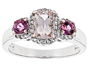 Pink Morganite Sterling Silver Ring 1.11ctw