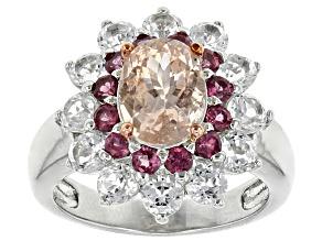 Pink Morganite Sterling Silver Ring 2.45ctw