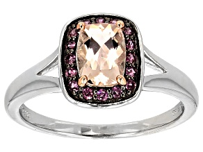 Pink Morganite Sterling Silver Ring .77ctw