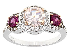 Pink Morganite Sterling Silver Ring 1.81ctw
