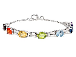Orange Lab Created Padparadscha Sapphire Sterling Silver Bracelet 9.29ctw