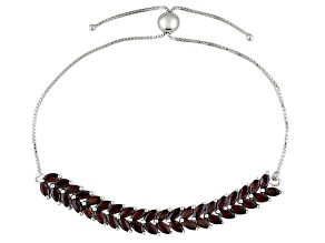 Red Garnet Sterling Silver Sliding Adjustable Bracelet 7.60ctw