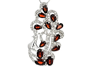 Red Garnet Sterling Silver Peacock Brooch/Pendant With Chain 4.16ctw