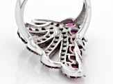 Purple  Rhodolite Sterling Silver Ring 3.21ctw