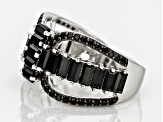 Black Spinel Sterling Silver Ring 2.50ctw