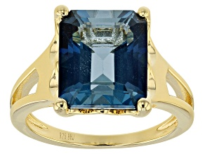London Blue Topaz 18k Gold Over Silver Ring 6.37ct