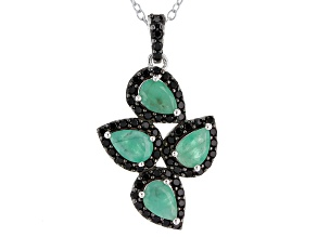 Green Emerald Sterling Silver Pendant With Chain 1.92ctw