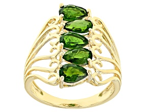 Green Chrome Diopside 18k Gold Over Silver Ring 1.75ctw