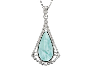 Blue Larimar Sterling Silver Pendant With Chain .24ctw