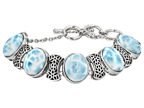 Blue Larimar Sterling Silver Adjustable Bracelet