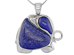 Blue Lapis Lazuli Sterling Silver Elephant Pendant With Chain