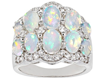Picture of Ethiopian Opal Rhodium Over Sterling Silver Ring 3.24ctw