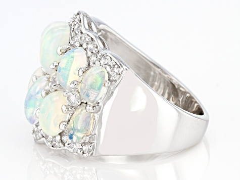 Ethiopian Opal Rhodium Over Sterling Silver Ring 3.24ctw