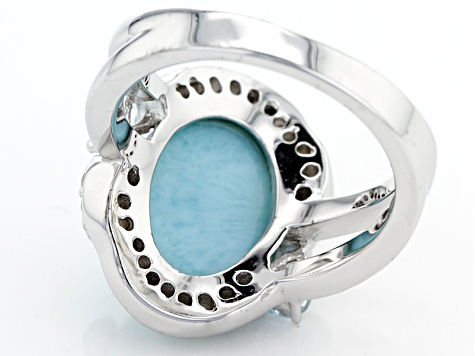 Blue Larimar Sterling Silver Ring .87ctw