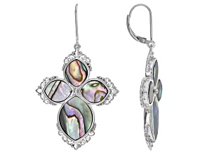 Multi Color Abalone Shell Sterling Silver Cross Earrings